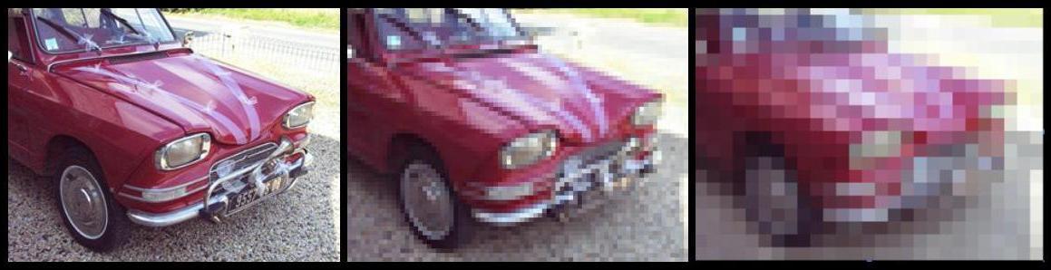 3 images d'une voiture, d'une haute à une très basse résolution (de gauche à droite)